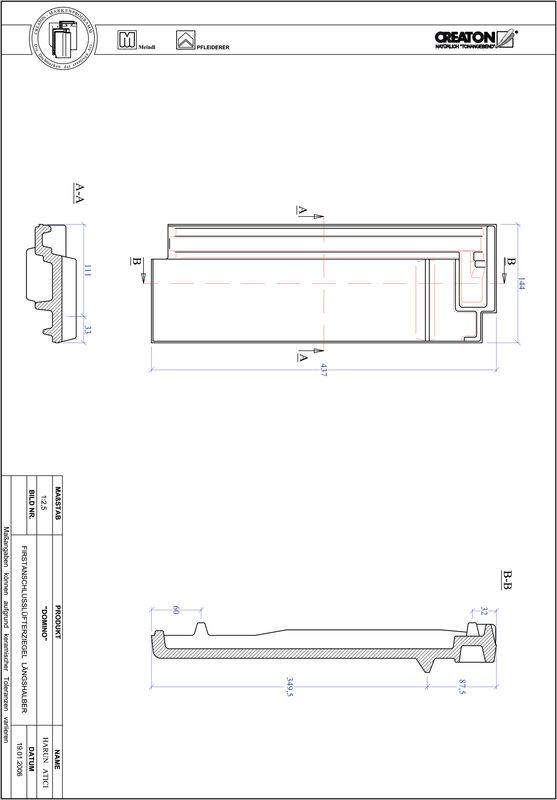 Product CAD file DOMINO ridge connection ventilating half-width tile FALLH