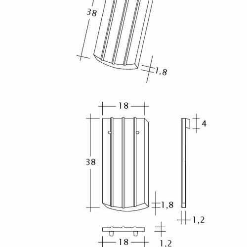 Product technical drawing PROFIL Kera-Saechs-18cm-1-1