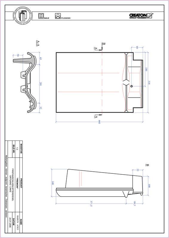 Product CAD file PREMION ridge connection ventilator verge left FALOGL