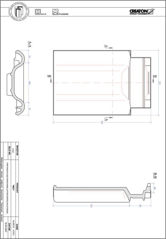 Product CAD file MZ3 adjustment range, double roll tile VSBDWZ