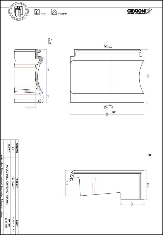Product CAD file ELEGANZ shed roof tile verge right PULTOGR