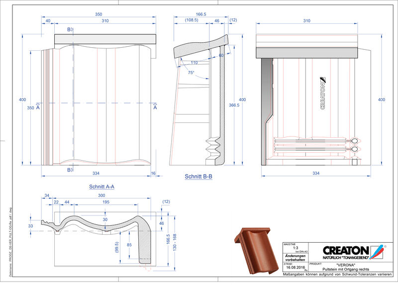 Product CAD file VERONA concrete shed roof tile verge right PultOGR