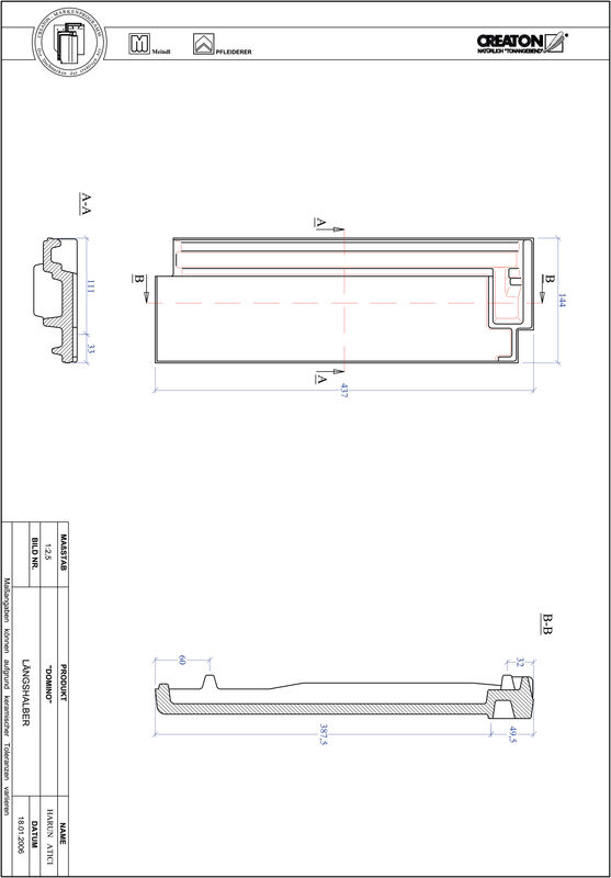 Product CAD file DOMINO half-width tile LH