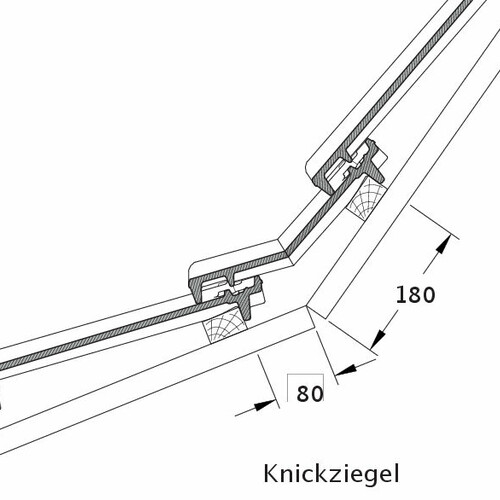 Product technical drawing CANTUS pitch transition tile KNZ