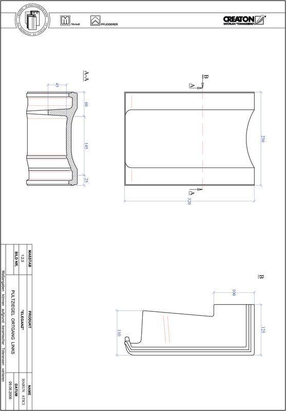 Product CAD file ELEGANZ shed roof tile verge left PULTOGL