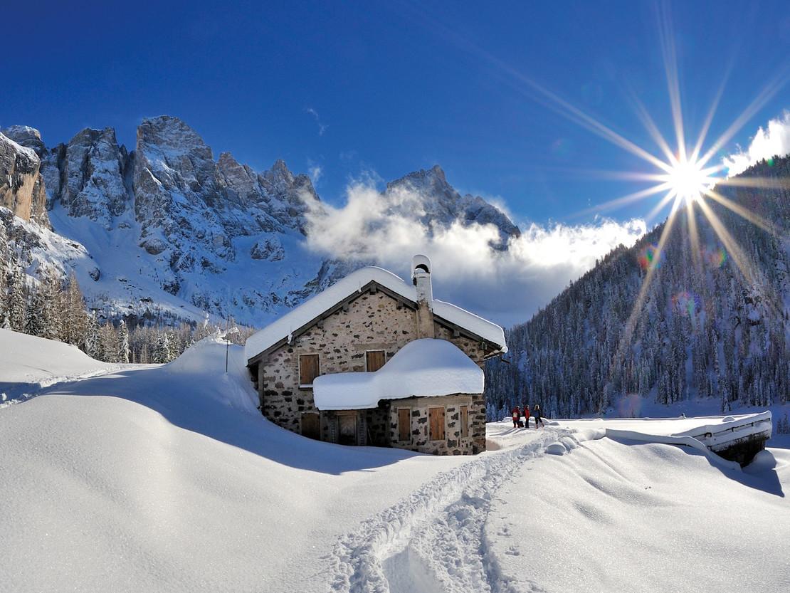 Snow landscape with hut