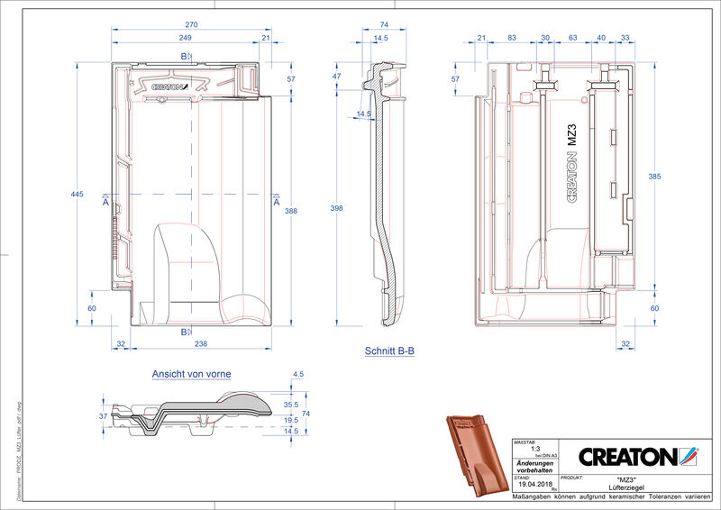 Product CAD file MZ3 NEU ventilating tile LUEFTZ