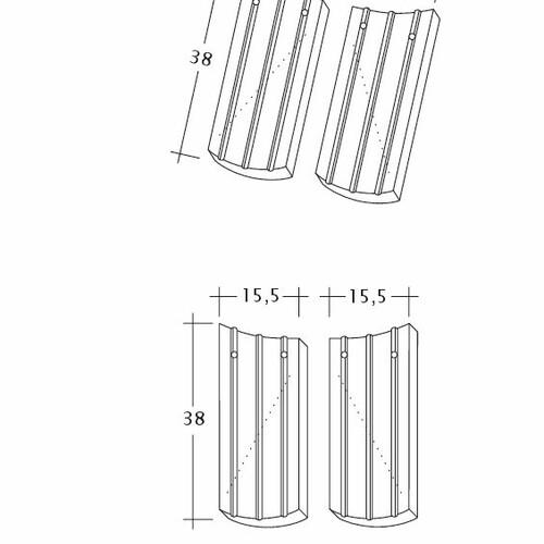 Product technical drawing PROFIL Kera-Saechs-15cm-AnAbfuehrer