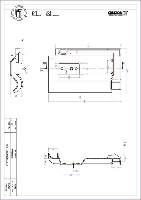 Product CAD file PREMION base, aluminium GRUNDALU