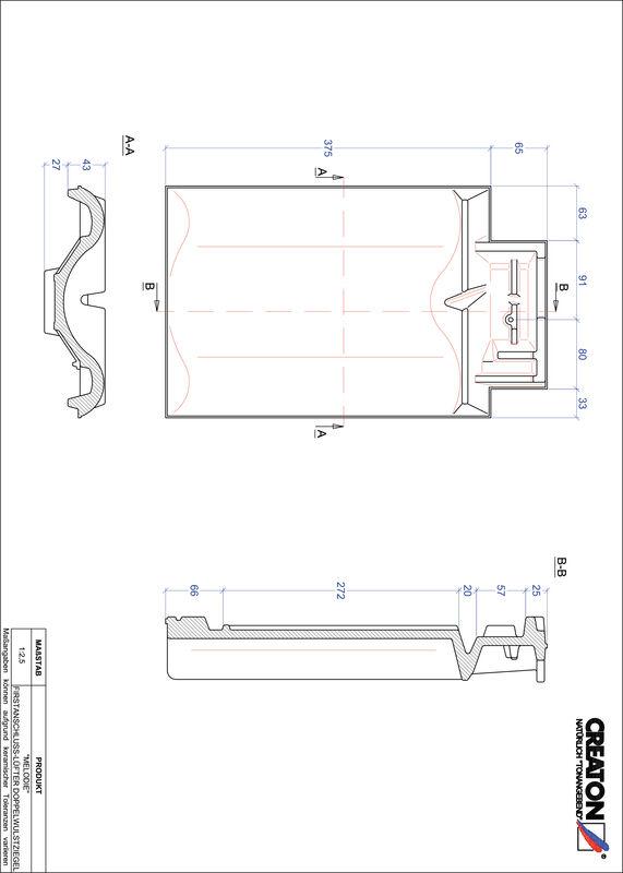 Product CAD file MELODIE ridge connection ventilating double roll tile FALDWZ
