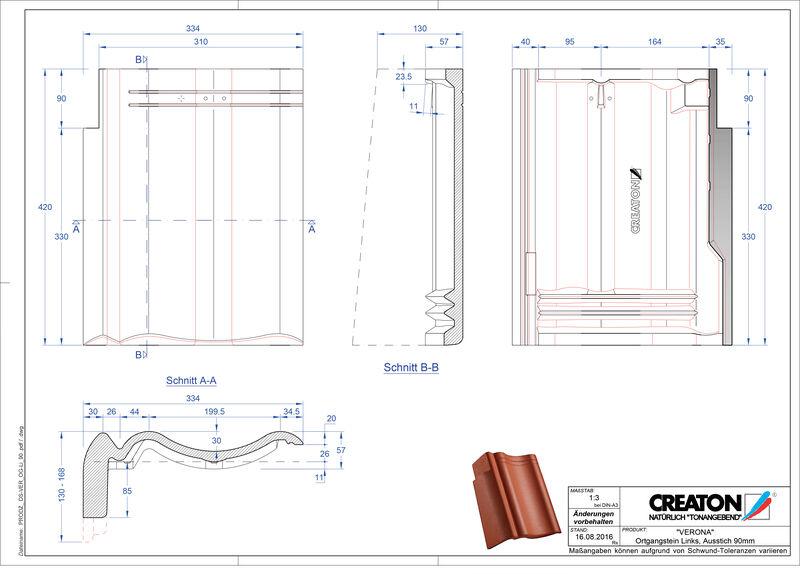 Product CAD file VERONA concrete shed roof tile verge left PultOGL-90