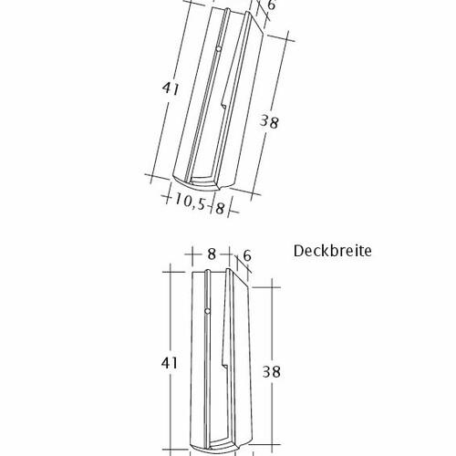 Product technical drawing PROFIL Kera-Saechs-18cm-SchiebeOG