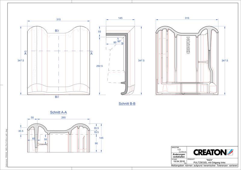 Product CAD file MZ3 NEU shed roof tile verge left PULTOGL