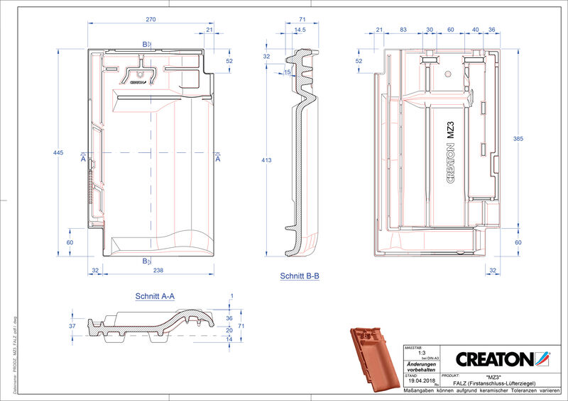 Product CAD file MZ3 NEU ridge connection ventilating tile FALZ