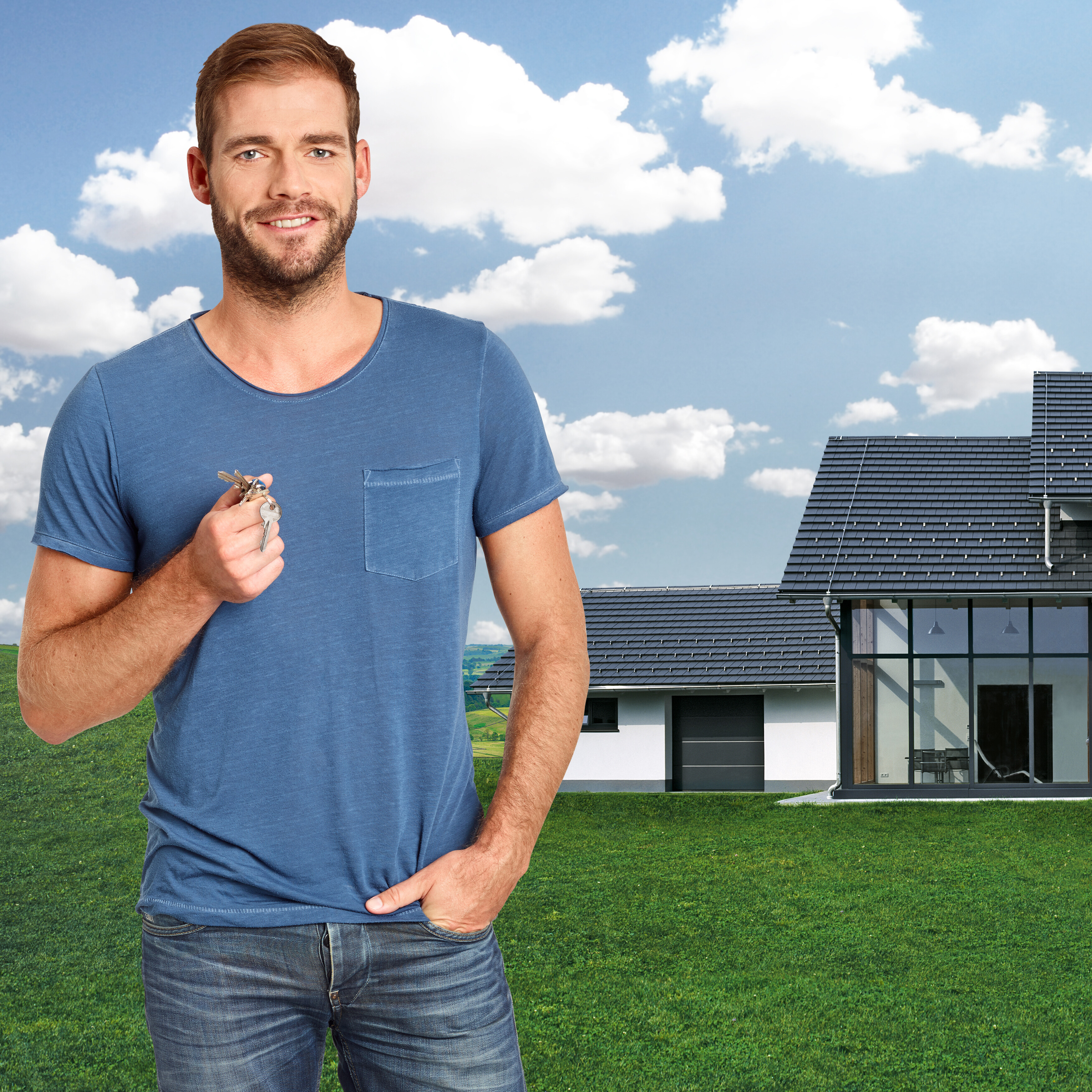 Owner in front of single-family house