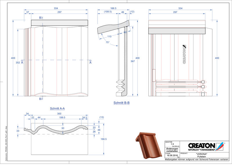 Product CAD file VERONA concrete shed roof tile PULTSTEIN