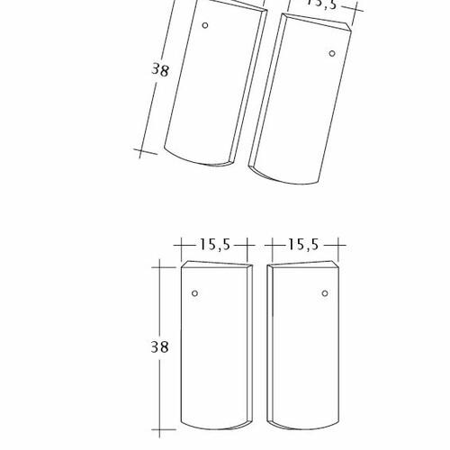 Product technical drawing PROFIL Kera-Saechs-15cm-Unterlaeufer