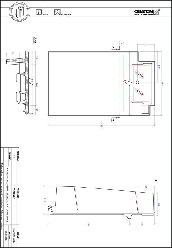 Product CAD file DOMINO ridge connection ventilator verge left FALOGL