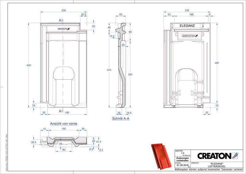 Product CAD file ELEGANZ ventilating tile LUEFTZ
