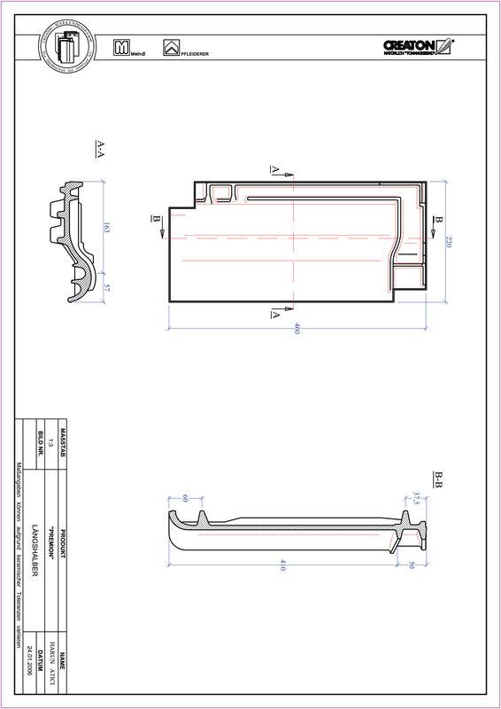 Product CAD file PREMION half-width tile LH