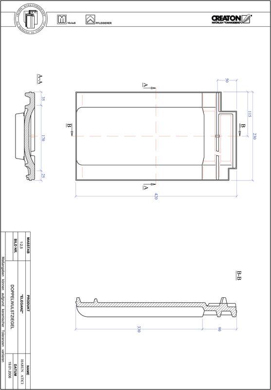 Product CAD file ELEGANZ double roll tile DWZ
