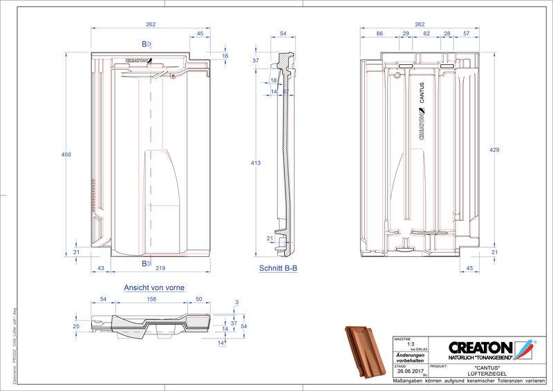Product CAD file CANTUS ventilating tile LUEFTZ