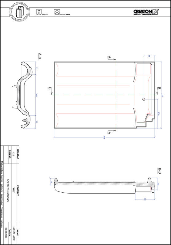 Product CAD file MZ3 double roll tile DWZ