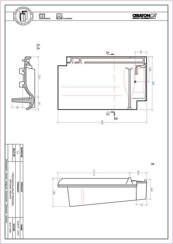 Product CAD file PREMION ridge connection ventilator verge right FALOGR