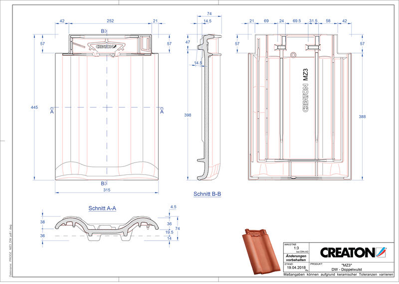 Product CAD file MZ3 NEU double roll tile DWZ