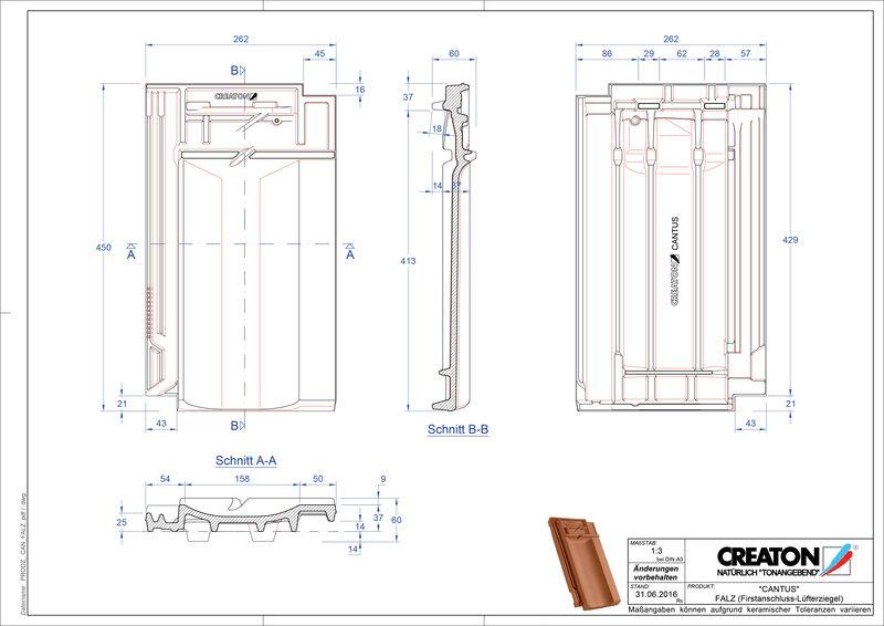 Product CAD file CANTUS ridge connection ventilating tile FALZ
