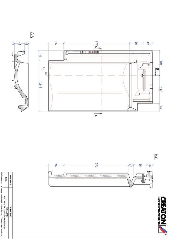 Product CAD file MELODIE ridge connection ventilating tile FALZ