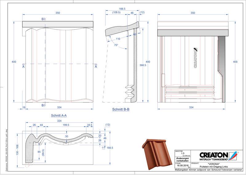 Product CAD file VERONA concrete shed roof tile verge left PultOGL