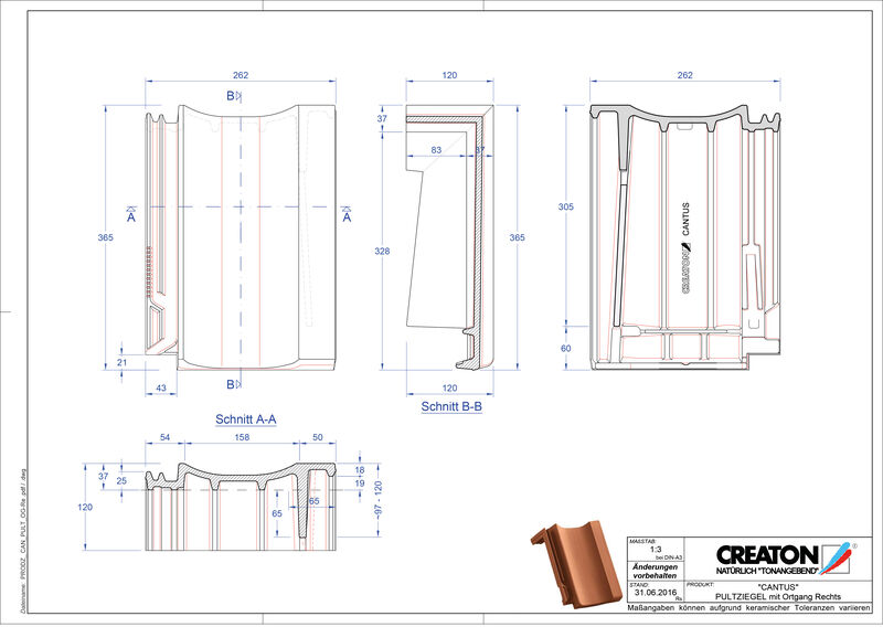 Product CAD file CANTUS shed roof tile verge right PULTOGR