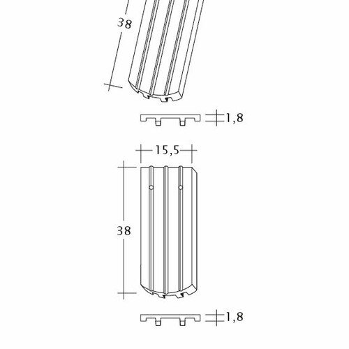 Product technical drawing PROFIL Kera-Saechs-15cm-FlaechenLUEFTZ
