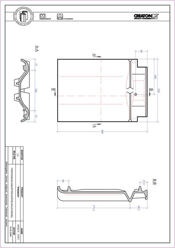 Product CAD file PREMION ridge connection ventilating double roll tile FALDWZ