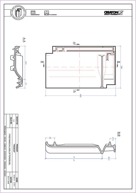 Product CAD file PREMION ridge connection ventilating tile FALZ