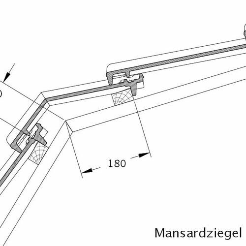 Product technical drawing CANTUS mansard tile MAZ
