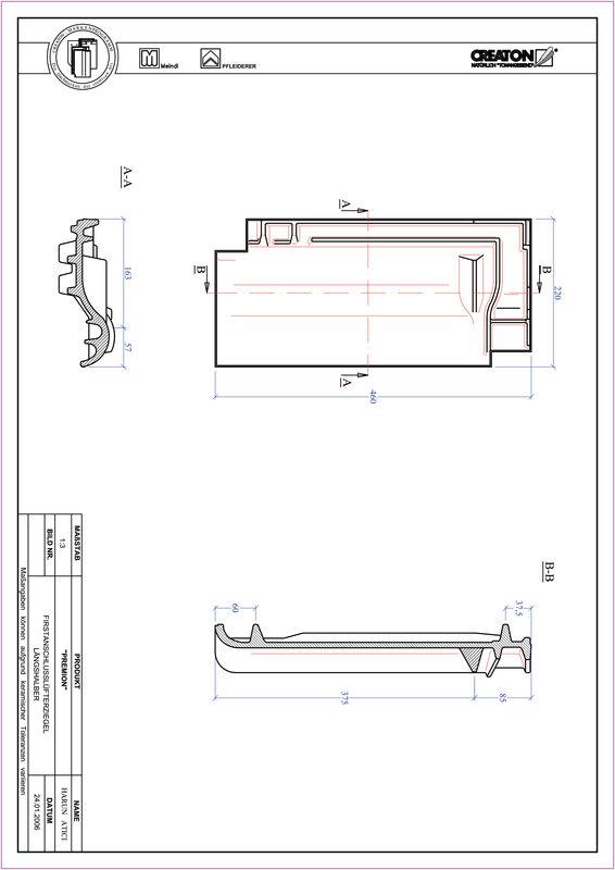 Product CAD file PREMION ridge connection ventilating half-width tile FALLH