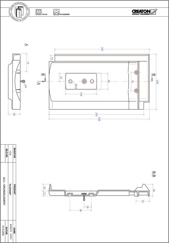 Product CAD file ELEGANZ base, aluminium GRUNDALU