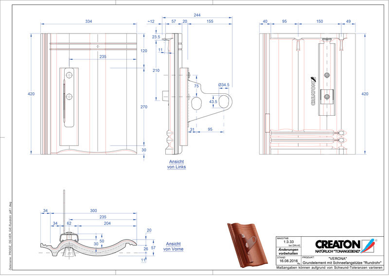 Product CAD file VERONA base element Rundrohr