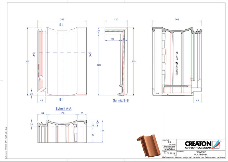 Product CAD file CANTUS shed roof tile PULT