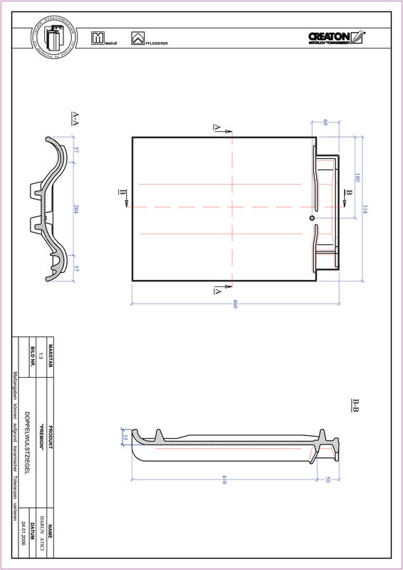 Product CAD file PREMION double roll tile DWZ