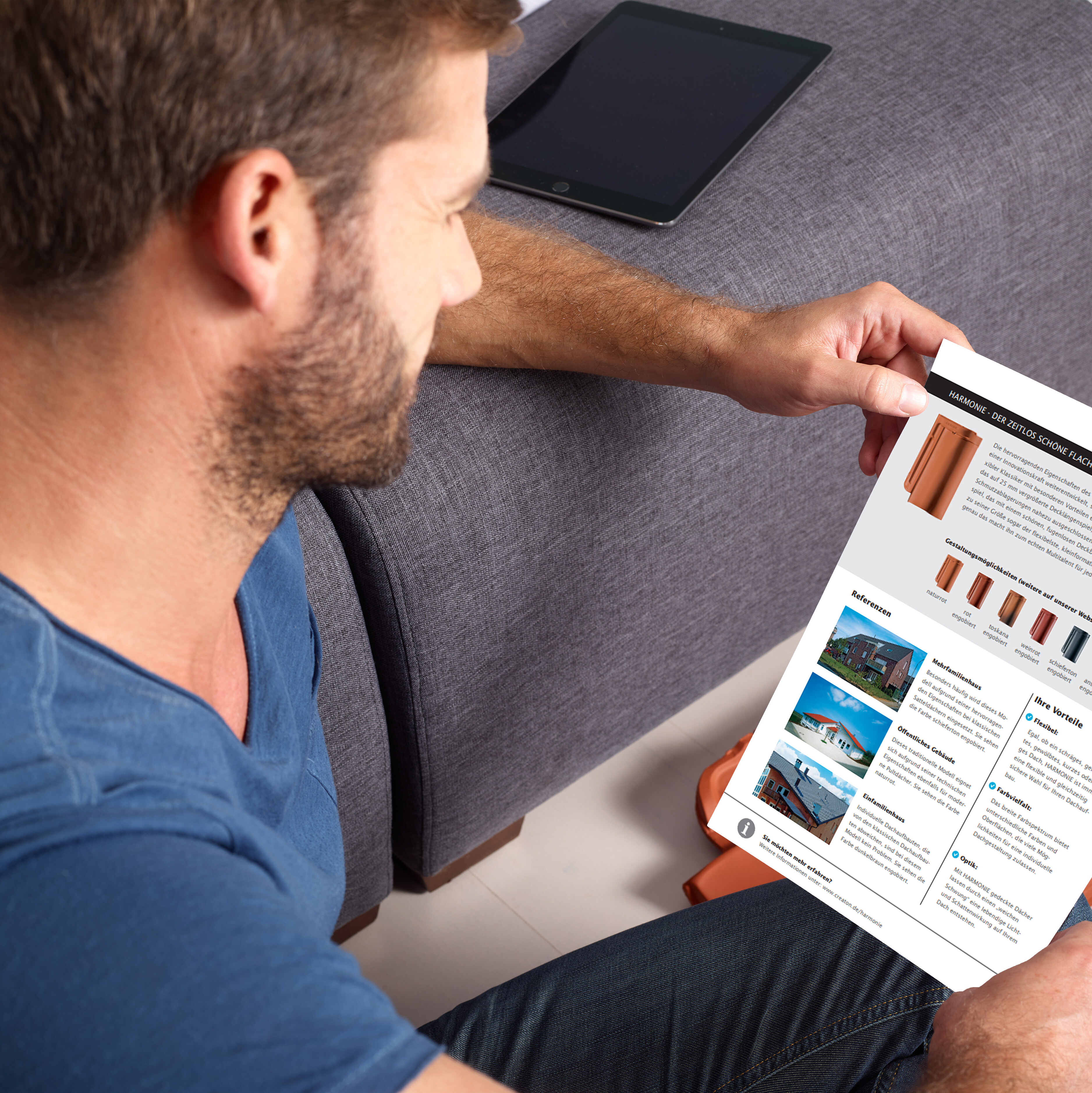 Customer is reading information