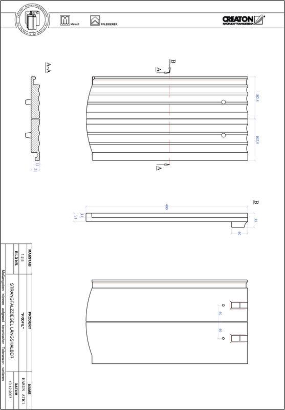 Product CAD file PROFIL segmented cut STRANGFALZ-GEWELLT-LH