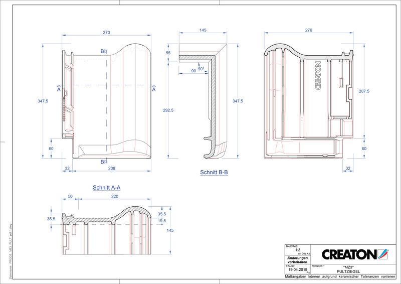 Product CAD file MZ3 NEU shed roof tile PULT
