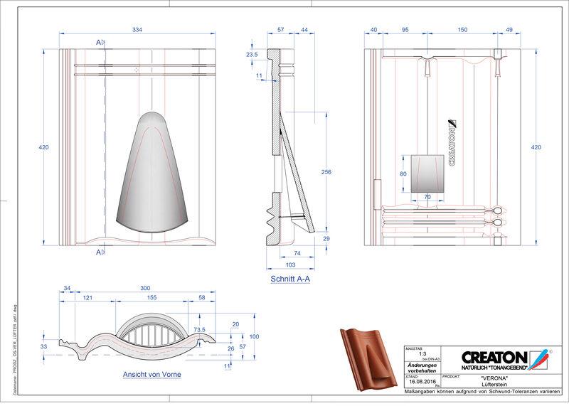 Product CAD file VERONA concrete ventilating tile Luefterstein
