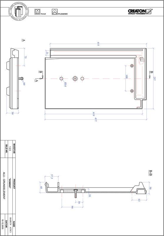 Product CAD file DOMINO base, aluminium GRUNDALU