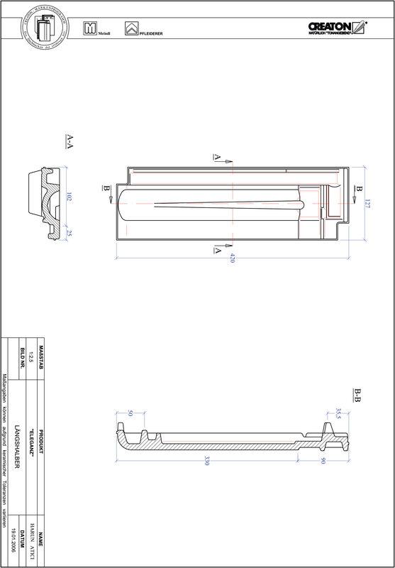 Product CAD file ELEGANZ half-width tile LH