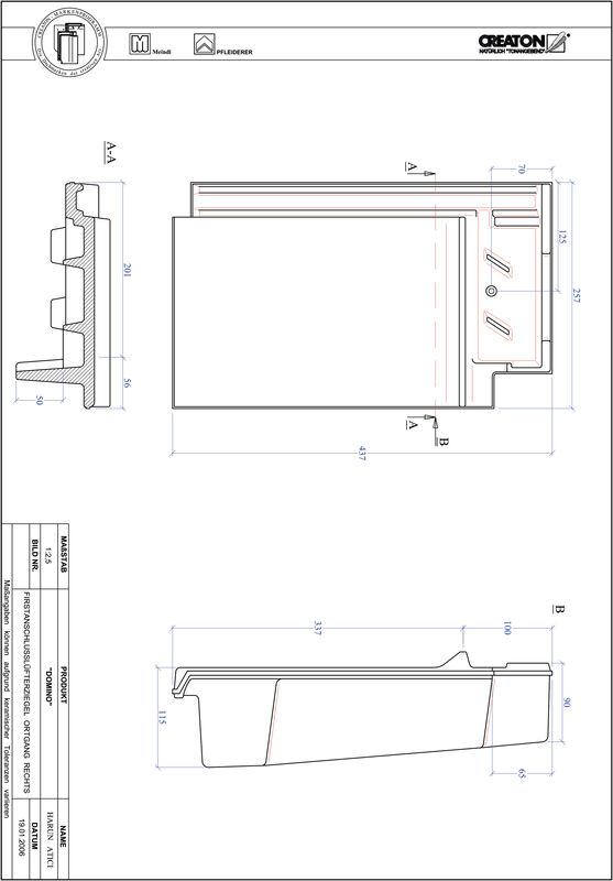 Product CAD file DOMINO ridge connection ventilator verge right FALOGR