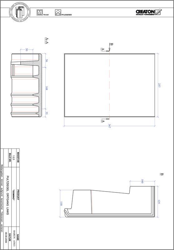 Product CAD file DOMINO shed roof tile verge left PULTOGL